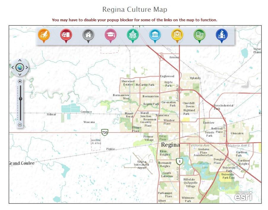 Regina Online Culture Map - online web map