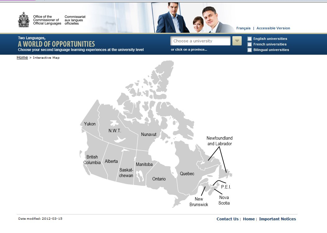 Map - University Language Programs in Canada
