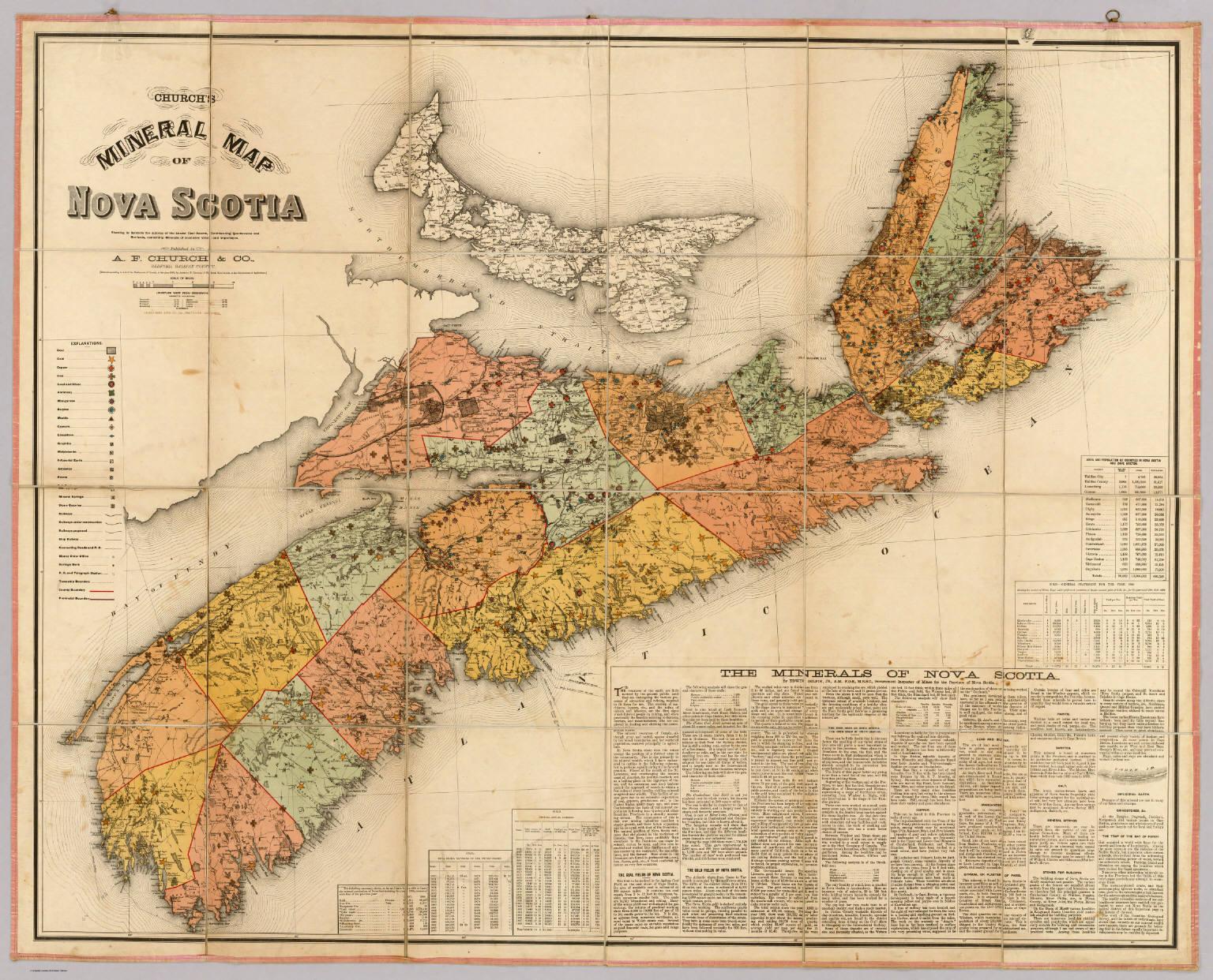 Nova Scotia maps & data - Churchs mineral map of Nova Scotia