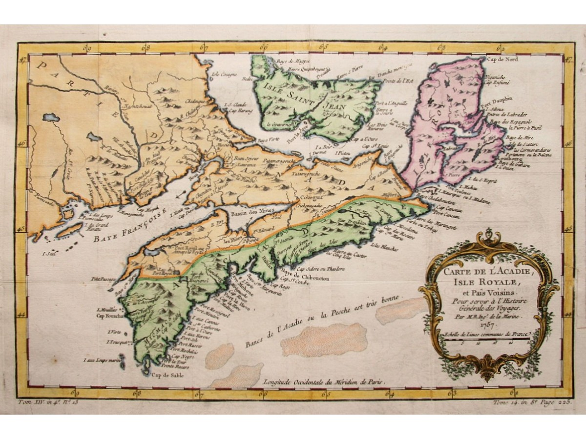 1757 antique map Acadia