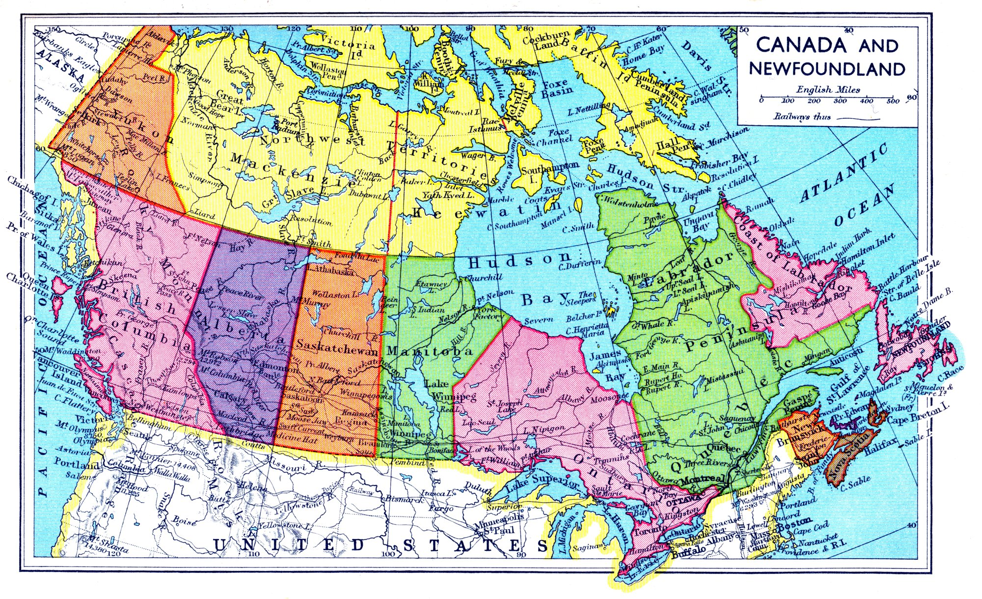 Canadian GIS Data Sources - Physical features map of canada