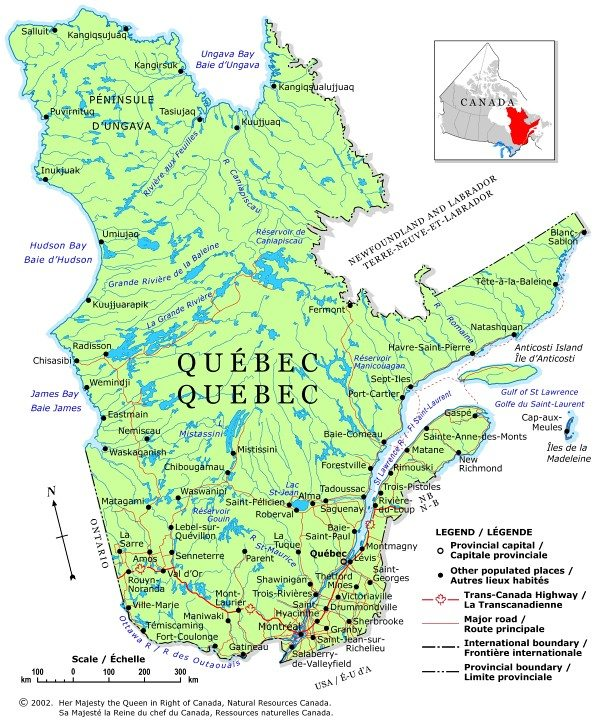 map of GIS jobs in Quebec