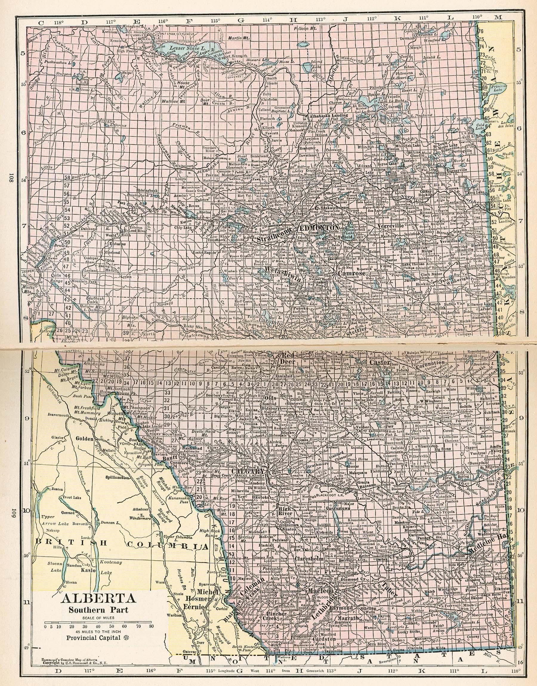 1921 map of Alberta