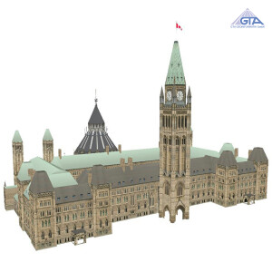 Canadian GIS Data - 3D image of Parliament Hill Ottawa