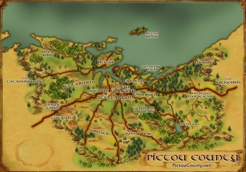 Map of Nova Scotia - Custom Map Art of Pictou County