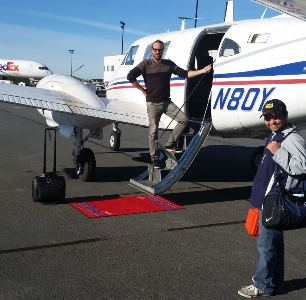 Bathymetric LIDAR - Petter Kullenberg from AHAB and Jonathan Wickens from LEG receive the red carpet treatment in Halifax.