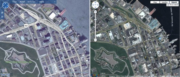 Comparison of top Free Online Map Sites - 'Bing Maps vs Google Maps'