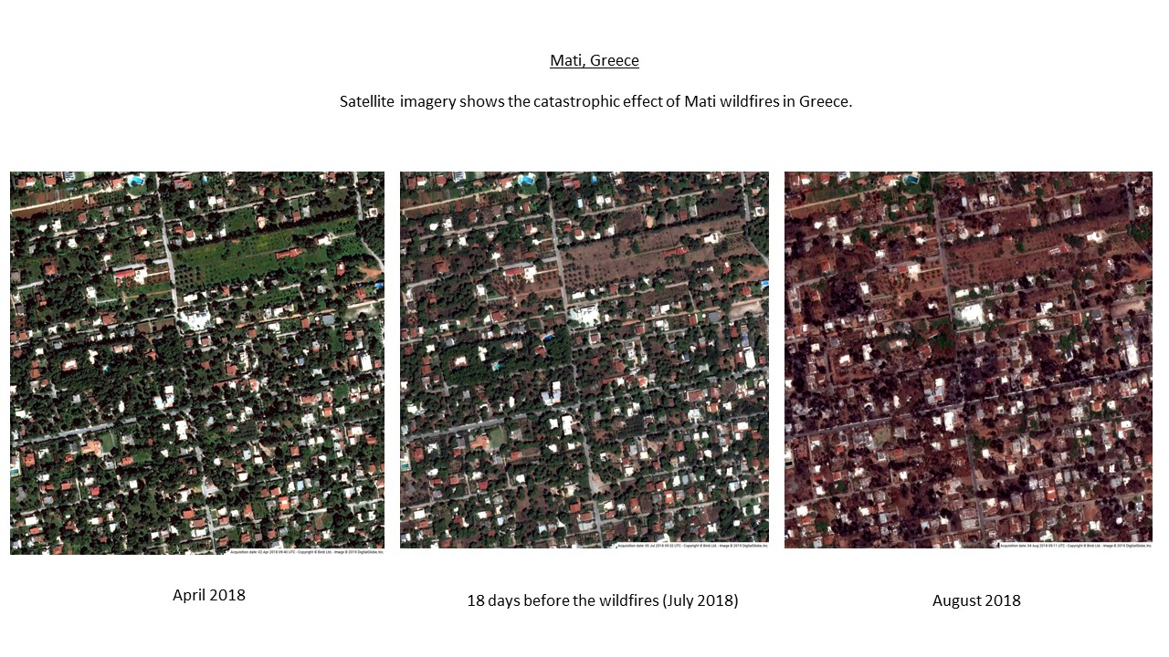 Satellite imagery integration within CAD platforms - Mati wildfires