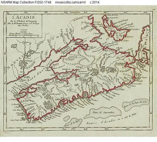 'L'Acadie' map of Acadia 1748 - Historical Maps of Nova Scotia
