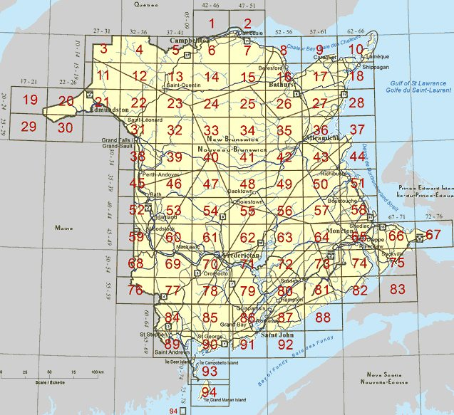 New Brunswick topo maps