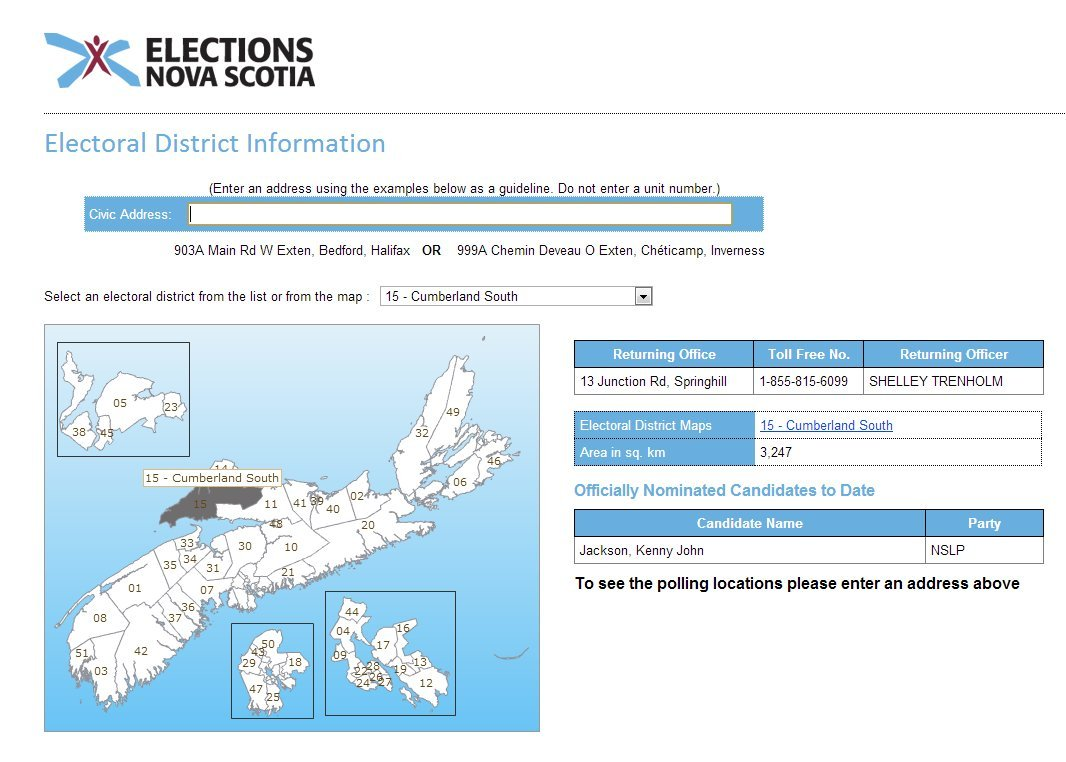 Elections Nova Scotia Interactive Web Map -