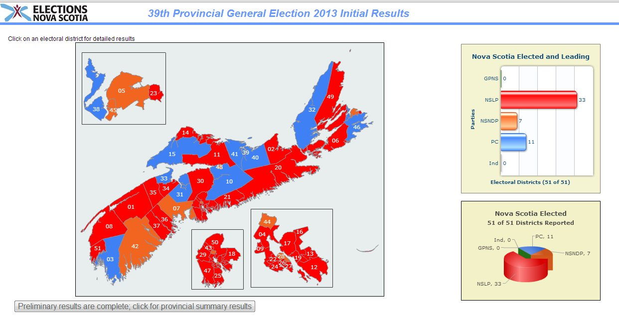 Elections Nova Scotia Interactive Web Map - Nova Scotia 2013 Election Results Map - red for Liberals, blue for PC and orange for NDP