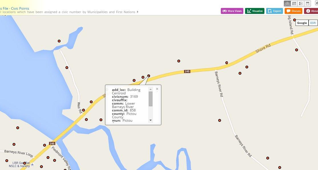 Nova Scotia Open Data Portal - civic map