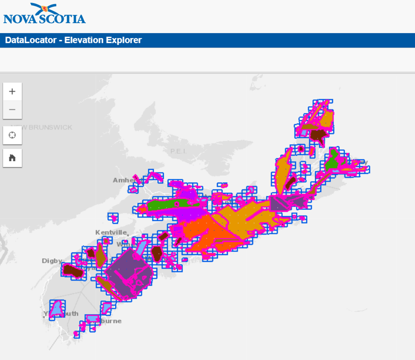 Nova Scotia geospatial data Elevation Explorer