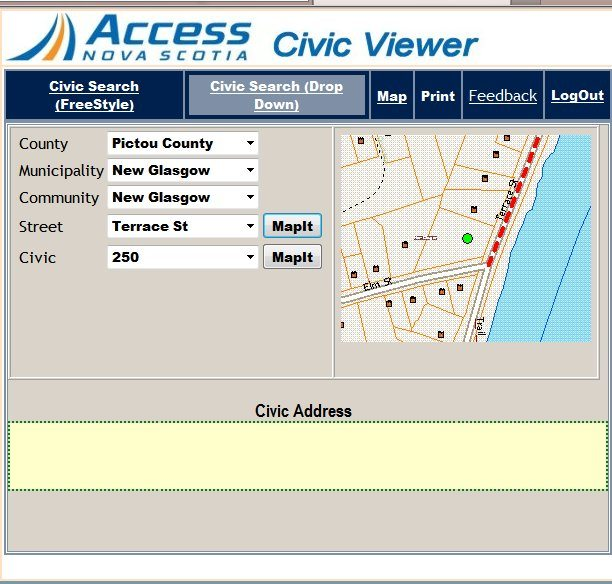 Access Nova Scotia Online Civic Map Viewer