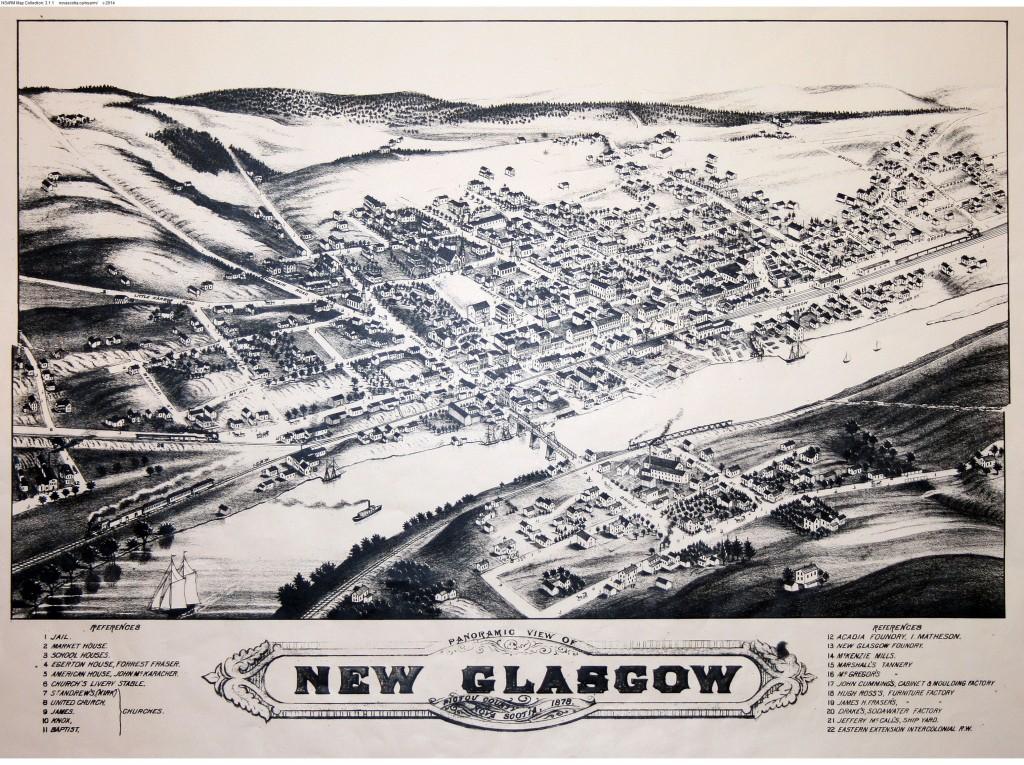 Panoramic View of New Glasgow, Pictou County, Nova Scotia, 1878