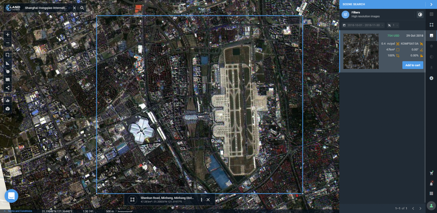 Preview of high-resolution KOMPSAT-3A image of Shanghai Airport