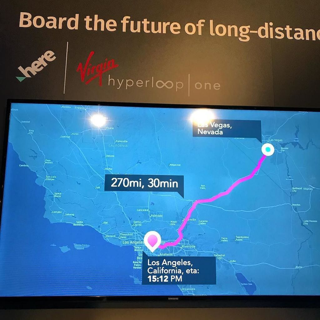 Sample Hyperloop One Trip from Las Vegas to Los Angeles