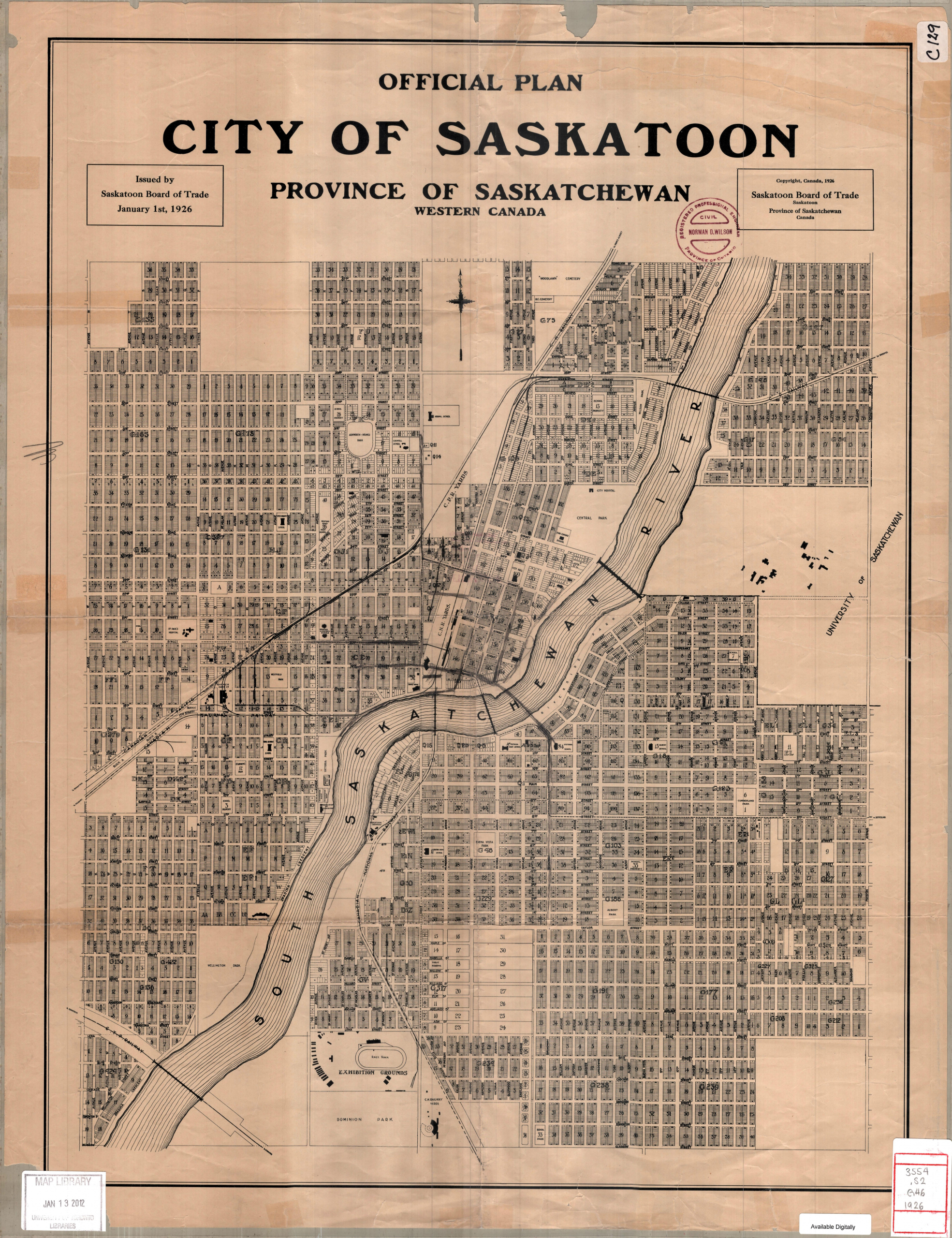 city of Saskatoon 1926 map