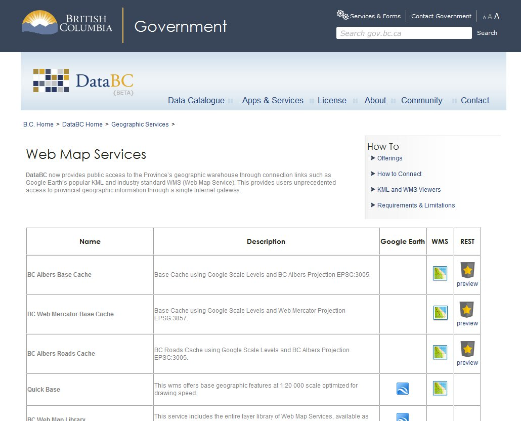 Screen Grab DataBC - online web mapping portal