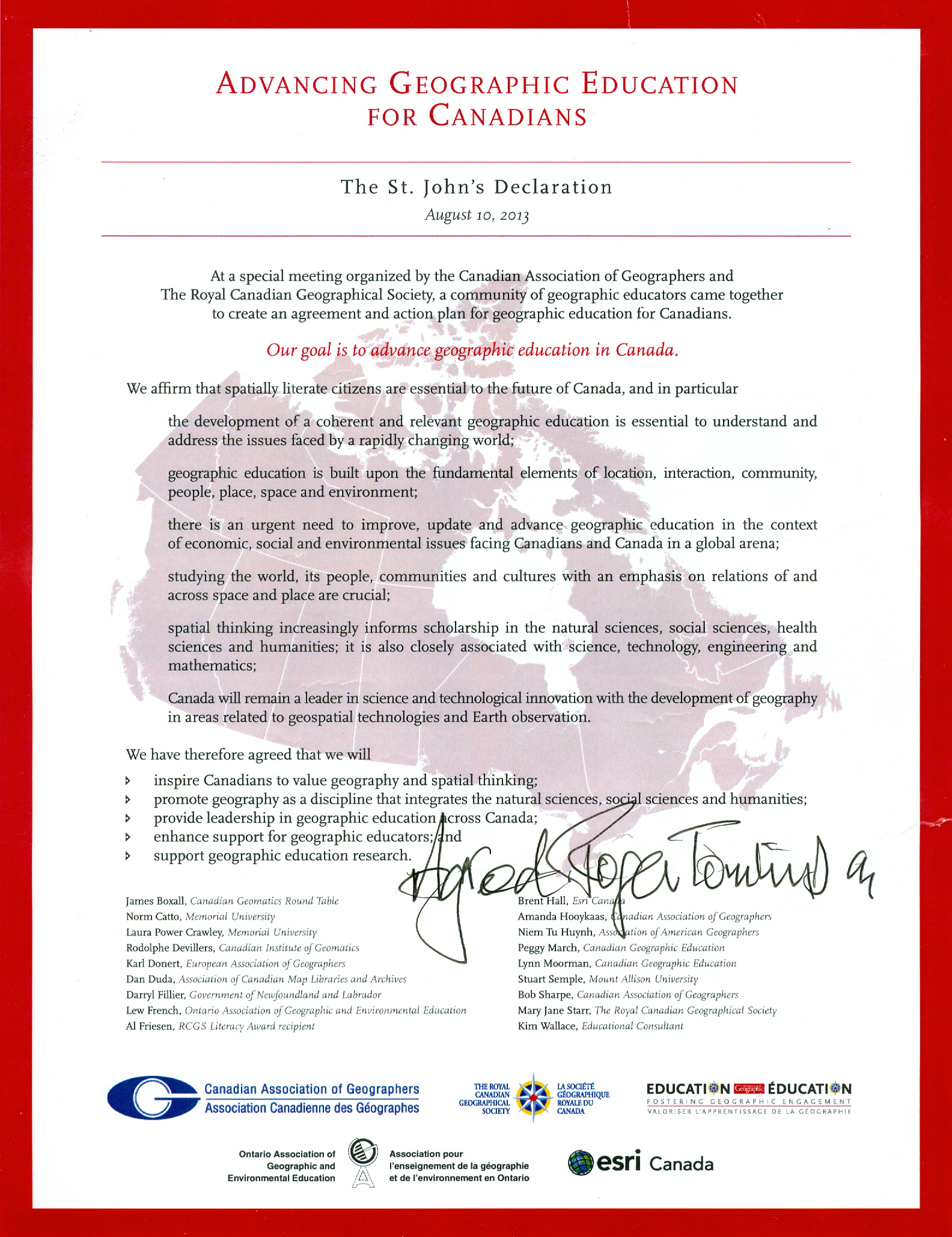 St.Johns Declaration signed by Roger Tomlinson (Father of GIS)