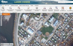 Yukon Lands Viewer showing Satellite Imagery ofDawson City