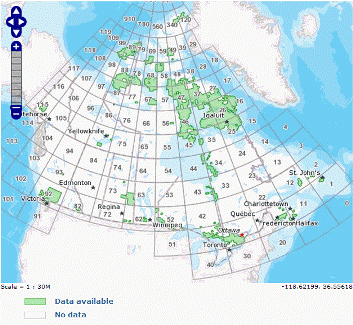 Canadian topographic maps index key