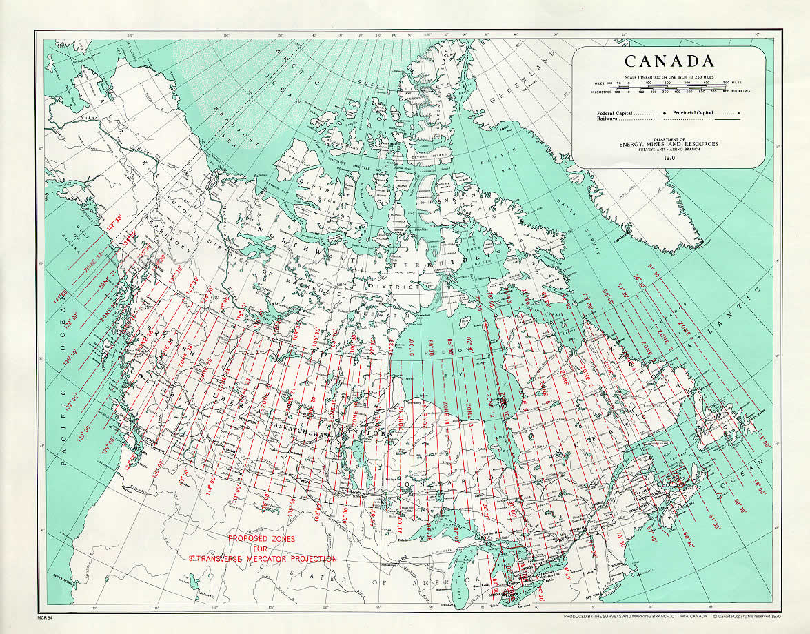 MTM zones map of Canada